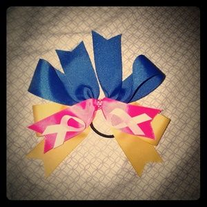 Breast Cancer softball/cheer bow with hair tie